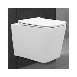 ECD Germany Bidet-Einsatz Spülrandloses Hänge WC mit Bidet Funktion, Weiß