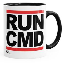 MoonWorks Tasse Kaffee-Tasse RUN CMD Nerd Geek Computer-Freak Tasse mit Innenfarbe MoonWorks®