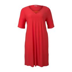 TOM TAILOR MY TRUE ME Damen Curvy - Schlichtes Basic Kleid, rosa, Gr.44