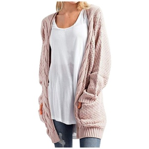 Rovinci Strickjacke Damen Grobstrick Strickmantel Strickcardigan Einfarbig Herbst Winter Damen Casual Open Front Sweater Cardigan Cover Up Patchwork Outwear S-XXXL