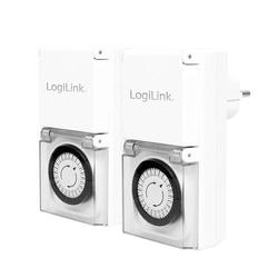 LogiLink Mechanische Zeitschaltuhr, 2er Set, IP44, Outdoor