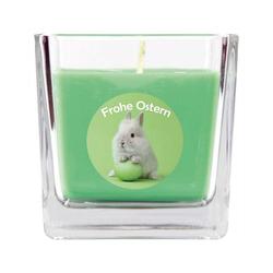 HS Candle Duftkerze (1-tlg), Frohe Ostern - Bis zu 110h Brenndauer - Kerze im Bonbon Glas, Kerze mit Motiv zur Osterzeit, vers. Düfte / Größen grün 8 cm x 8 cm x 8 cm