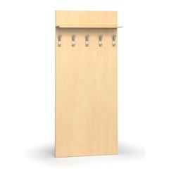 Garderobenwand, 5 kleiderhaken, ablage, birke