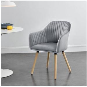 en.casa Polsterstuhl, Dover Esszimmerstuhl Sessel mit Armlehne in verschiedenen Farben grau