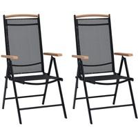 vidaXL Gartenstuhl 58 x 65 x 109 cm schwarz klappbar 2 St.