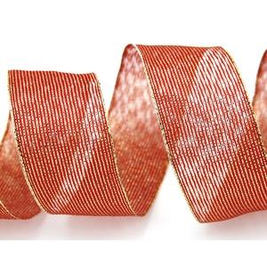 finemark 3 m x 40 mm Dekoband METALLIC Stripes ROT Gold Lurex Streifen Geschenkband Schleifenband mit Drahtkanten glänzend Weihnachtsband