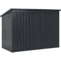 Juskys Mülltonnenbox Namur 1,9m² Aufbewahrungsbox in grau für 3 Tonnen zwei abschließbare Türen