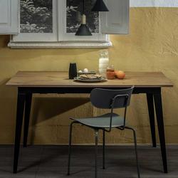 Küchen Tisch in Eichefarben und Schwarz Top Kulissenauszug
