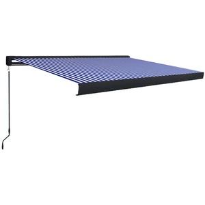 UnfadeMemory Manuelle Kassetten-Markise Sonnenschutz Markise Handbetrieben Kassettenmarkise Gartenmarkise Balkonmarkise mit Wandhalterungen (450x300cm Blau/Weiß, Typ B)
