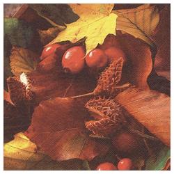 Linoows Papierserviette 20 Servietten Herbstlaub mit Hagebutten, farbige, Motiv Herbstlaub mit Hagebutten, farbige Herbstszene