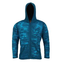 KUNST UND MAGIE Kurzjacke Kunst und Magie Männer Cutwork Goa Jacke mit Kapuze blau S