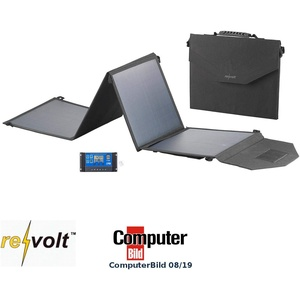 reVolt Solar Laderegler: Faltbares Solarpanel, USB-Laderegler, 4 monokrist. Solarzellen, 50 W (Falt Solarpanel)