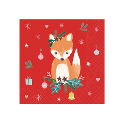 stewo Papierserviette Christmas Fox, (5 St), 33 cm x 33 cm