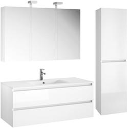 Allibert Badmöbel-Set Alma, (4-St), bestehend Waschplatz, Spiegelschrank und Hochschrank weiß