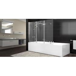 BruKa Badewannenaufsatz Nano Glas Duschabtrennung XL Badewanne Faltwand Duschwand Badewannenfaltwand ESG 140x126cm3-teiligNano ProESG GlasEasy Fold System
