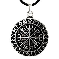 Kiss of Leather Kettenanhänger Wikingerkompass Anhänger Silber Vegvisir Runen Ring Rune