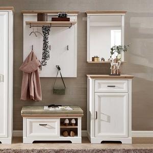 Garderobenmöbel Set in Weiß und Eichefarben Landhaus Design (4-teilig)