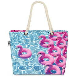 VOID Strandtasche (1-tlg), Swimming Pool Flamingos Beach Bag Pool Flamingo Sommer Wasser schwimmen rosa