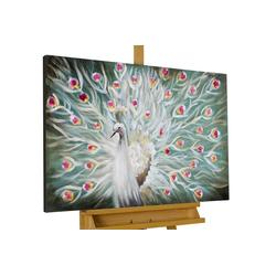 KUNSTLOFT Gemälde Glanz des Pfaus, handgemaltes Bild auf Leinwand