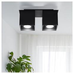 etc-shop LED Einbaustrahler, Deckenstrahler modern Designer Küchenlampen Strahler 2 flammig Aufbauleuchte schwarz, Aluminium, 1x GU10, LxH 26 x 11 cm