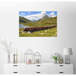 Posterlounge Wandbild, Eisenbahn am Bernina Pass, Schweiz 91 cm x 61 cm