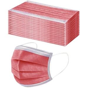50 Stück Einmal-Mundschutz Mundbedeckung Erwachsene 3-lagig Atmungsaktiv Mund und Nasenschutz Bedeckung Multifunktionstuch Halstuch (50pcs, rot)