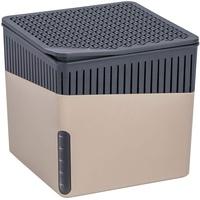 WENKO Raumentfeuchter Cube, Luftentfeuchter reduziert Schimmel und Gerüche, Auffangschale mit 500 g Granulatblock nachfüllbar, fasst bis zu 800 ml Feuchtigkeit, Maße (BHT): 13x13x13 cm, beige
