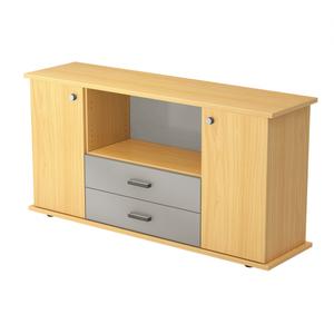 Hammerbacher Sideboard SB / 2 Türen und 2 Schubladen / Dekor: Buche / Griff: Streifengriff