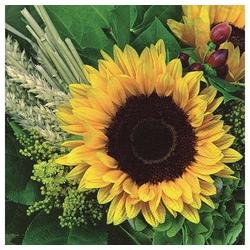 Linoows Papierserviette 20 Servietten Sonnenblumen im Gesteck mit Getreide, Motiv Sonnenblumen im Gesteck mit Getreide & Stroh