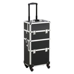 Yaheetech Kosmetikkoffer, Friseurkoffer, Alu Kosmetik Trolley, 3 in 1 Schminkkoffer, Make up Nail Art Koffer Box mit 360° Rollen
