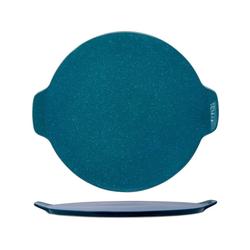 WALD Pizzastein Pizzaplatte 34 cm, dunkelgrau, Ton, durchgebrannt und glasiert blau