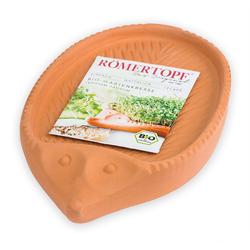 RÖMERTOPF Kräutertopf Kresse−Igel aus Naturton − Inkl. Bio−Kresse − Anzuchtschale Blumentopf für Kressesamen − Kressegarten