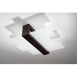 Licht-Erlebnisse Deckenleuchte LEDA Moderne Deckenlampe Braun Klar kunstvoll Flurlampe Holzleuchte Lampe
