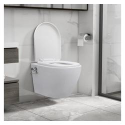 vidaXL Vorwandelement WC vidaXL Wand-WC ohne Spülrand mit Bidet-Funktion Keramik Weiß
