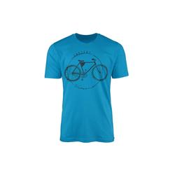 Sinus Art T-Shirt Vintage Herren T-Shirt Fahrrad blau XL