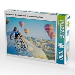 Mountainbiken: Mit Fullspeed durch die ungewöhnlichen Felsen Lege-Größe 64 x 48 cm Foto-Puzzle Puzzle