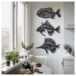 Hoagard Wandbild Hoagard Wandbild Fishbones aus schwarzem Metall, Fishbones