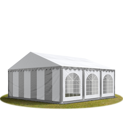 Toolport Partyzelt 6x6m PVC 500 g/m² grau wasserdicht Gartenzelt, Festzelt, Pavillon