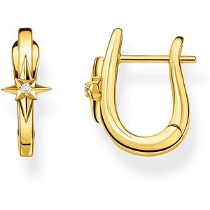 THOMAS SABO Damen Creolen Stern gold 925 Sterlingsilber, 750 Gelbgold Vergoldung CR654-414-39