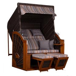 deVries PURE® Strandkorb PURE® Classic XL SUN - PE stone grey - Dessin 403, BxTxH: 130x80x160 cm, Volllieger, Ostsee-Strandkorb