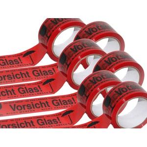 KUSNEZOV Klebeband Paketband Packband VORSICHT GLAS 48 mm x 66 Meter - 6 Rollen