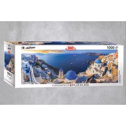 empireposter Puzzle Sonniges Santorini in Griechenland - 1000 Teile Panorama Puzzle - Format 68x48 cm, 1000 Puzzleteile