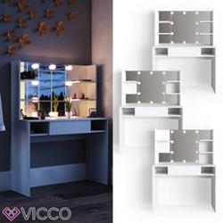 VICCO LED Schminktisch DAENERYS Weiß Frisiertisch Frisierkommode Spiegel