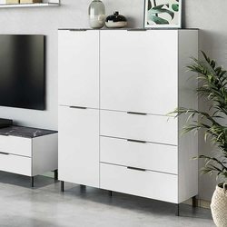 Wohnzimmer Highboard in Weiß und Grau modern