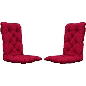2er Set Auflagen Sitzkissen Sitzpolster Hochlehner, 120x50x8 cm rot