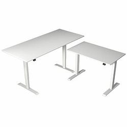MOVE 1 Steh-Sitz-Schreibtisch mit Beistelltisch, T-Fuß-Gestell, 180/100x80/60x72-120cm
