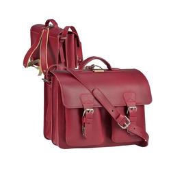 Ruitertassen Aktentasche Classic Satchel, 38 cm Lehrertasche mit 2 Fächern, auch als Rucksack zu tragen, dickes rustikales Leder rot