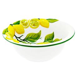 Lashuma Servierschüssel Zitrone Zitrone, Keramik, Salatschale aus Italien, runde Obstschüssel mit Relief Dekor Ø 20 cm x 7.5 cm