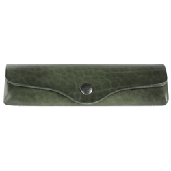 Mika Brillenetui Leder 15 cm grün