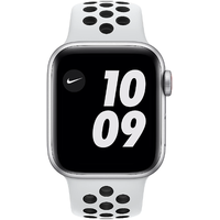 Apple Watch SE Nike GPS + Cellular 40 mm Aluminiumgehäuse silber, Nike Sportarmband Pure platinum/schwarz